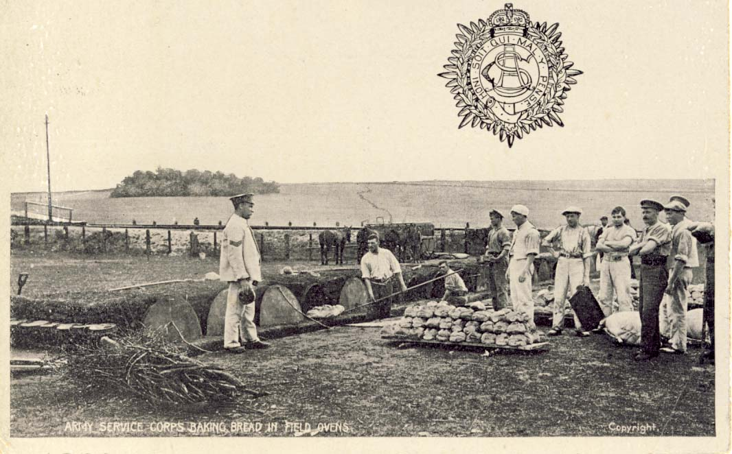 Army Service Corps baking bread in field ovens postcard