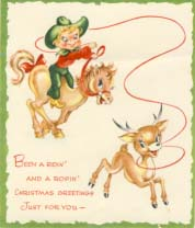 Been a ridin' and a ropin', Christmas card, 1950s