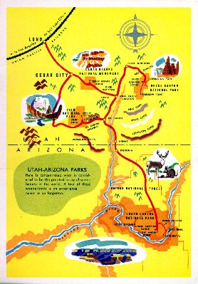 Zion, Bryce Canyon, Grand Canyon National Parks map, 1962