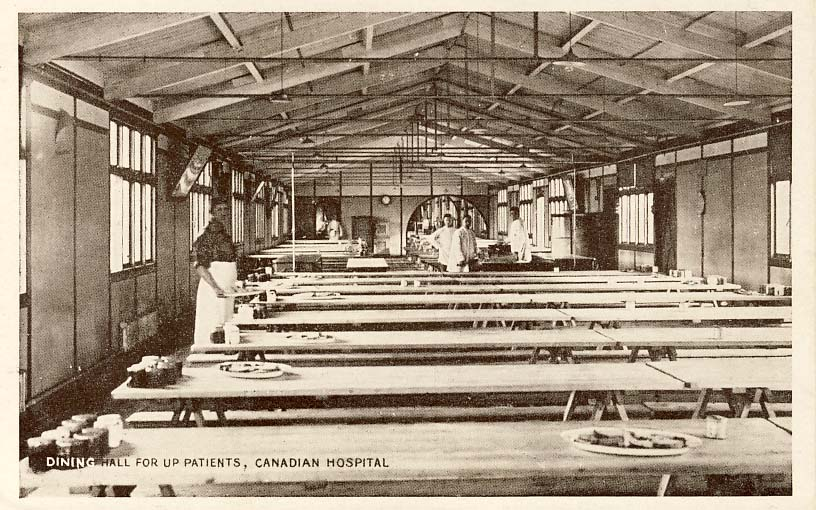 Dining hall for up patients, Canadian Hospital postcard