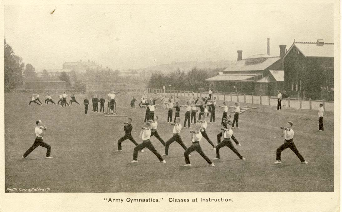 Army gymnastics: classes at instruction postcard