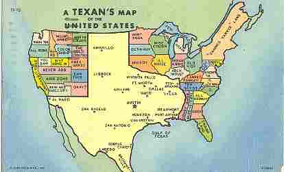 Texan's map of the United States postcard, 1952