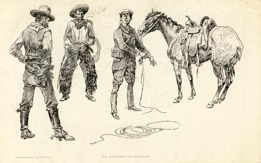 The initation of the tenderfoot. postcard 1911