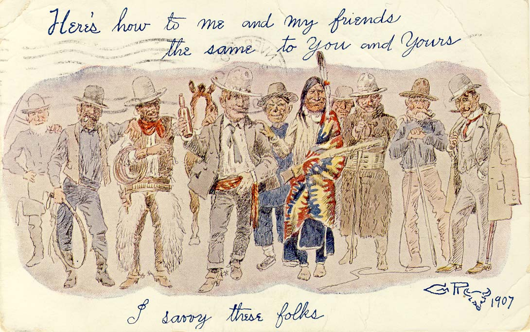 Here's how to men and my friends the same to you and yours postcard 1900s