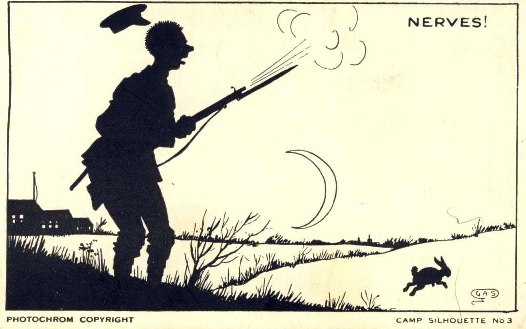 Camp silhouette: Nerves postcard