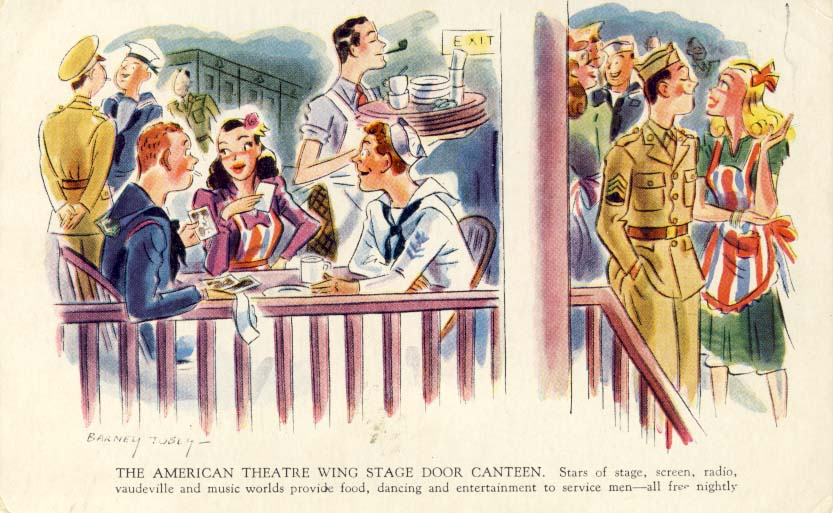 The American Theatre Wing Stage Canteen postcard
